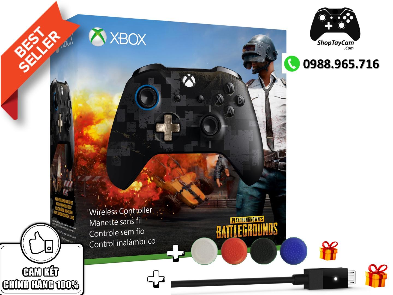 Tay Cầm Xbox One S Chính Hãng Bản Đen PUGB Limited Edition + Cáp Cable USB  + Bọc Cần Analog & FREESHIP   BÁN CHẠY