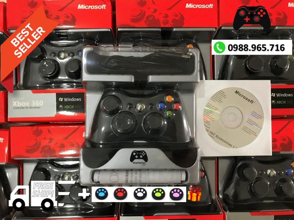 Tay Cầm Xbox 360 Có Dây Loại Thường 85% Hàng ZIN Dây Dài 2,7M Tối Ưu Chơi Game Cho PC / FO3 / FO4