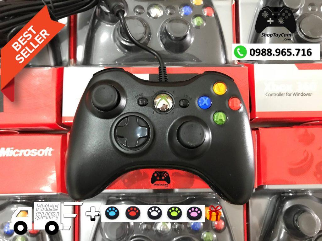 Mặt sau Tay Cầm Xbox 360 Có Dây Loại Thường 85% Hàng ZIN Dây Dài 2,7M Tối Ưu Chơi Game Cho PC / FO3 / FO4